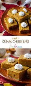 Pumpkin Cream Cheese Bars   Creamy, decadent little pumpkin pie bars, made with lots of love and cream cheese!