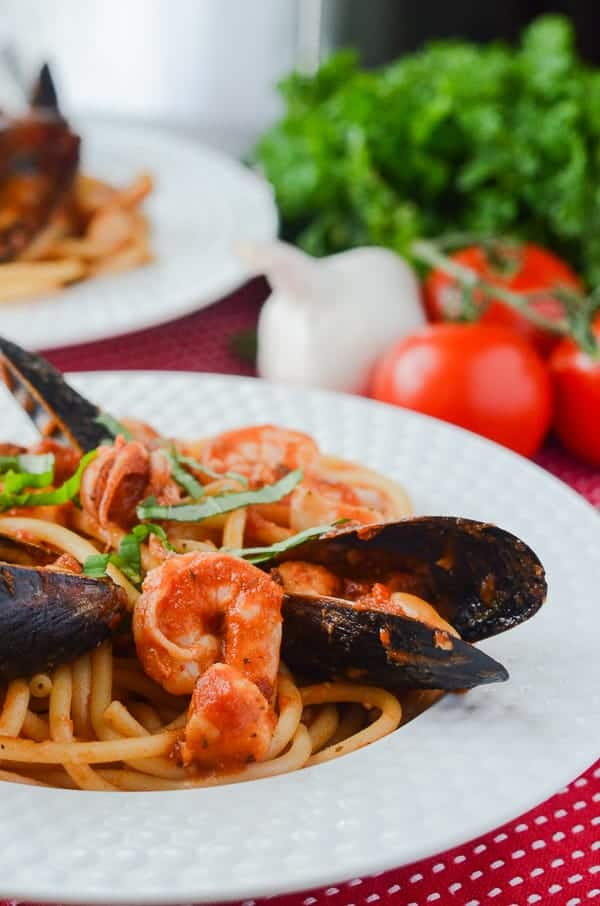 Seafood Fra Diavolo with Bucatini