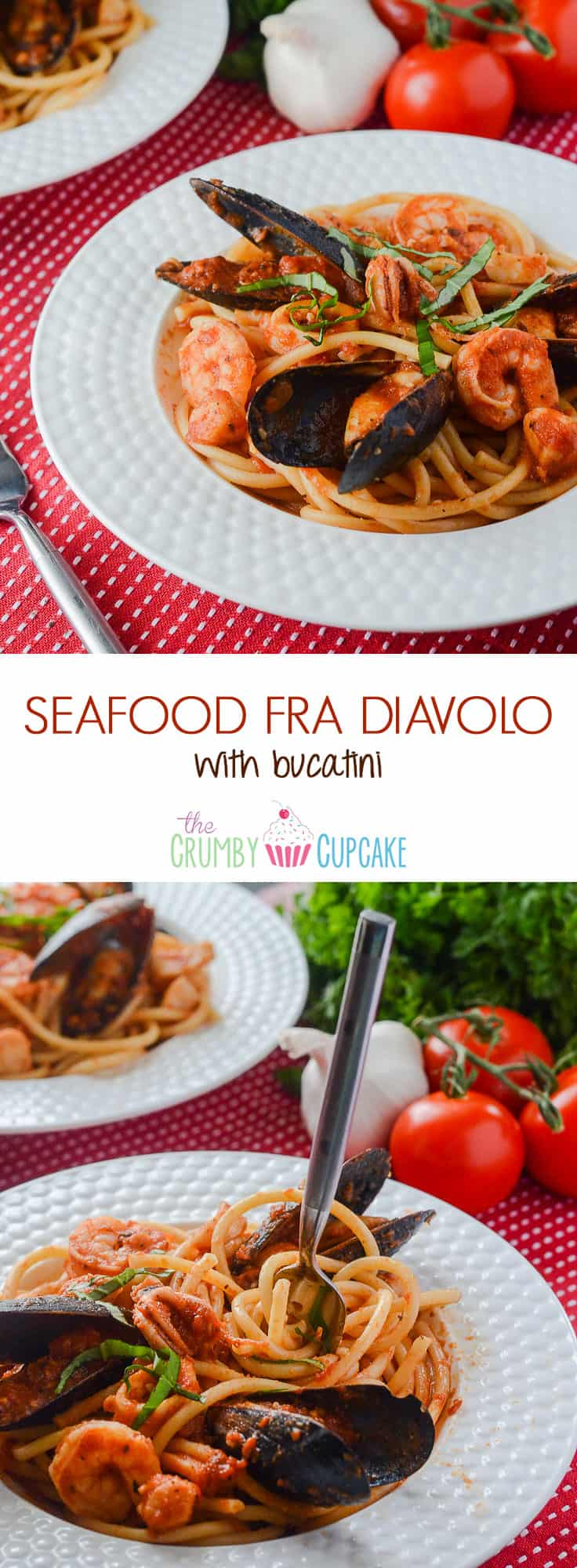 Pasta crowned with an array of fresh seafood that's bursting with spicy Italian flavor and lots of garlic - this Seafood Fra Diavolo with Bucatini is a spicy seafood spaghetti extravaganza!