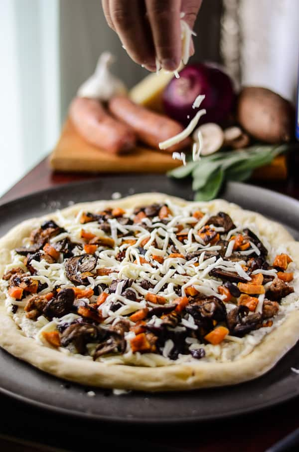 Autumn Sausage & Sweet Potato Pizza | The warmest, heartiest, yummiest, most autumny-est pizza without red sauce you may ever eat - topped with nothing but the best flavors of fall!