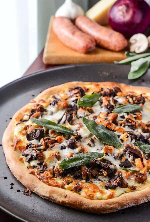 Autumn Sausage & Sweet Potato Pizza