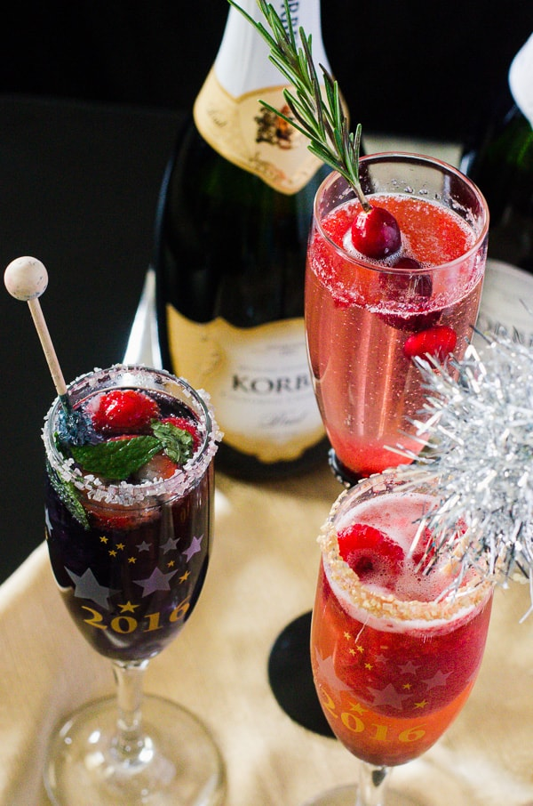 Berry Champagne Cocktail Trio | A trio of cocktails, highlighting a trio of very delicious, seasonal berries - they are the perfect drinks for any celebration!
