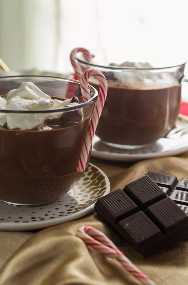 Peppermint French Hot Chocolate - rich & decadent & perfect for cold weather! | Get the recipe at My Cooking Spot!