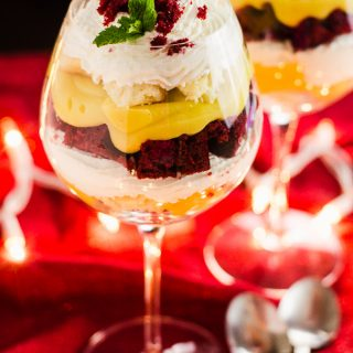 Red Velvet Eggnog Cheesecake Trifle