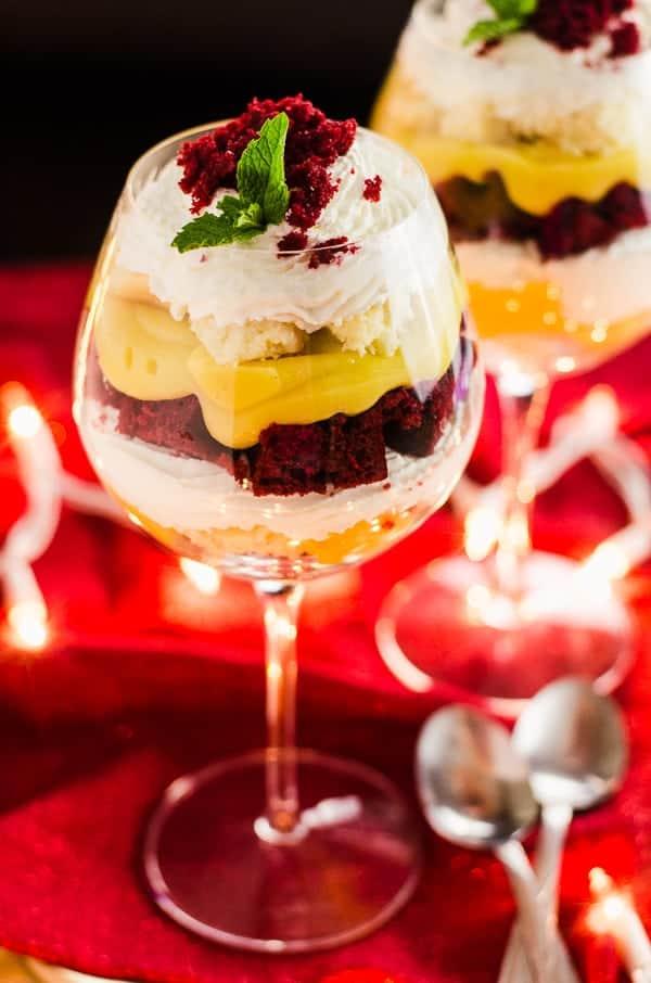 Red Velvet Eggnog Cheesecake Trifle