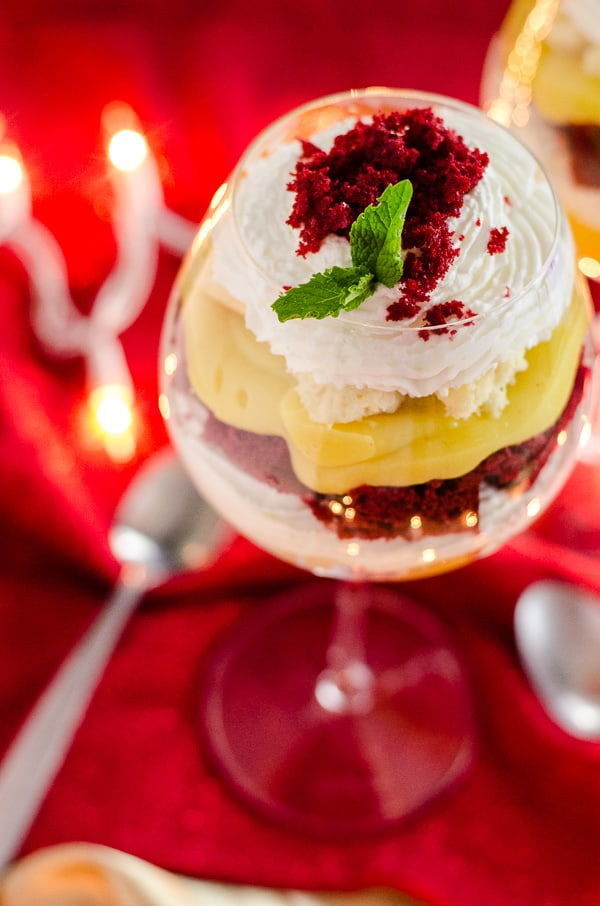 Red Velvet Eggnog Cheesecake Trifle   A quick and easy stunning last minute dessert, made with festive red velvet cake, fresh eggnog pudding, and horchata-spiked whipped cream!