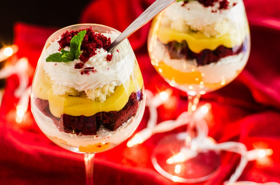 Red Velvet Eggnog Cheesecake Trifle | A quick and easy stunning last minute dessert, made with festive red velvet cake, fresh eggnog pudding, and horchata-spiked whipped cream!
