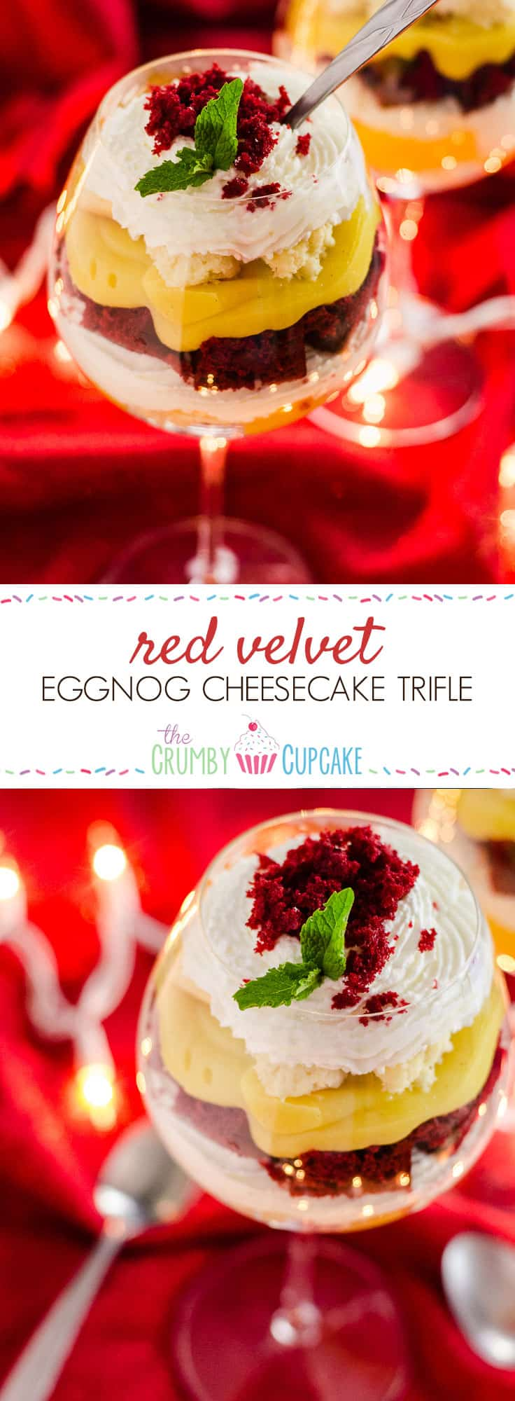 Red Velvet Eggnog Cheesecake Trifle is a quick, easy, stunning last-minute dessert, made with festive red velvet cake, fresh eggnog pudding, and horchata-spiked whipped cream!