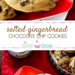 Salted Gingerbread Chocolate Chip Cookies - tons of chocolate chips and a touch of sea salt, nestled in theeasiest gingerbread-flavored cookie dough on earth - no sticky molasses or grated ginger required!