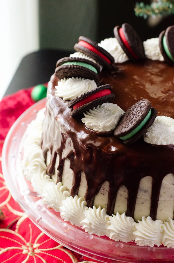 Seven-Layer Tuxedo Ganache Cake | Seven alternating layers of vanilla and chocolate cake, filled with whipped ganache, iced in whipped white chocolate ganache, and topped with even more ganache. Can you handle all the chocolate in this ultra-rich dessert??