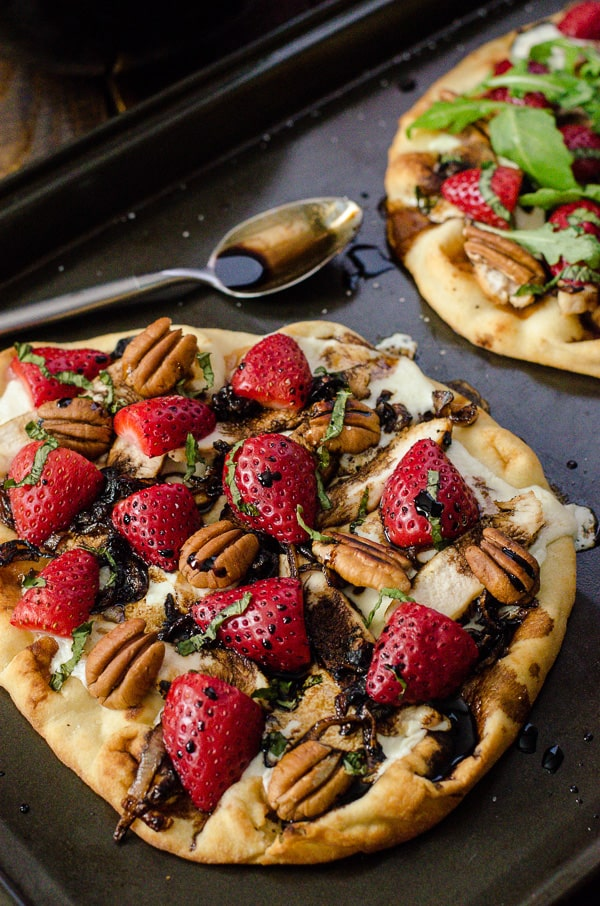 Strawberry Balsamic Chicken Flatbread | Hearty flatbread, fresh grilled chicken, toasted pecans, and a simple strawberry caprese make this recipe delicious & healthy - a favorite worth repeating in your meal plan!