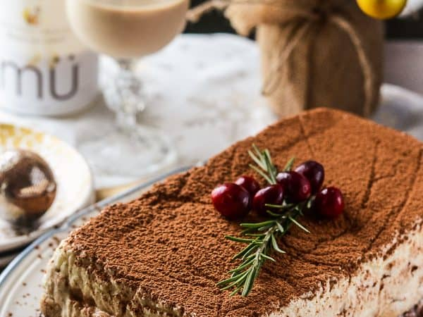 Tipsy Tiramisu Terrine   A cocktail-enhanced twist on classic tiramisu - coffee, dark chocolate, and white chocolate mousses, layered with espresso and mü-soaked ladyfingers. It's the ultimate grown-up dessert!