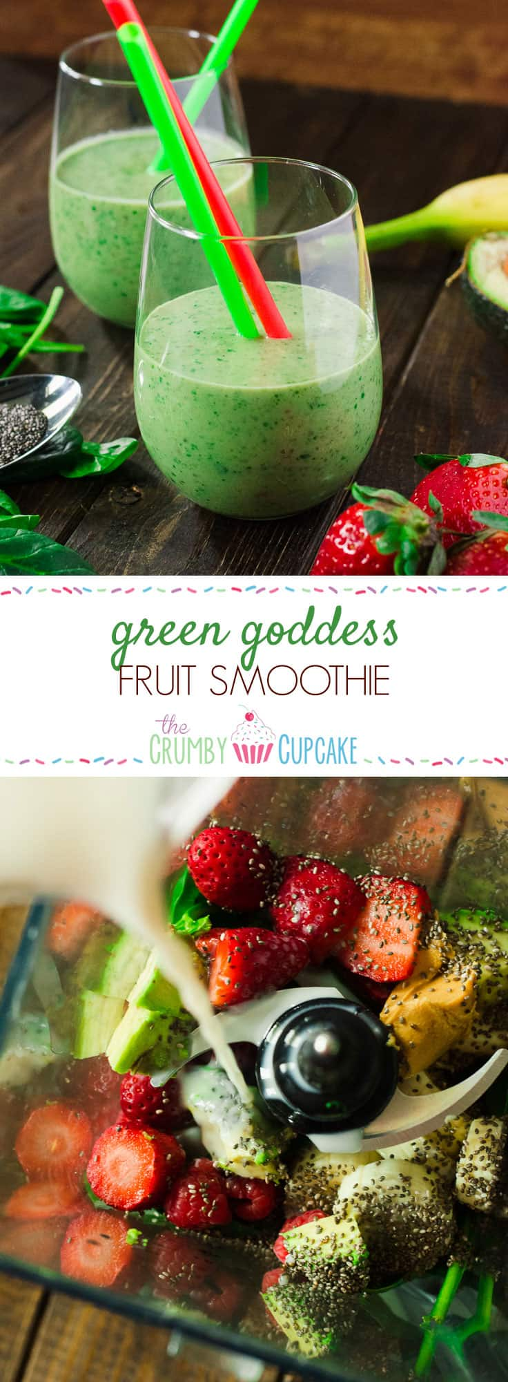 Green Goddess Fruit Smoothie | This healthy, dairy-free, vegan Green Goddess smoothie is loaded with spinach, avocado, and lots of fresh fruit, providing plenty of nutrients to power you through your day.
