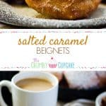 Salted Caramel Beignets | Bring a little New Orleans into your kitchen - salted caramel flavored sweet dough beignets, deep-fried and served hot with a sweet chocolate dipping sauce!