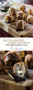 Bacon Wrapped Cheesy Meatballs with Maple Balsamic Sauce | Italian appetizers never tasted so good! Big beef & pork meatballs, stuffed with mozzarella cheese, wrapped in bacon, and drizzled with maple balsamic sauce are all you need to get the party started!
