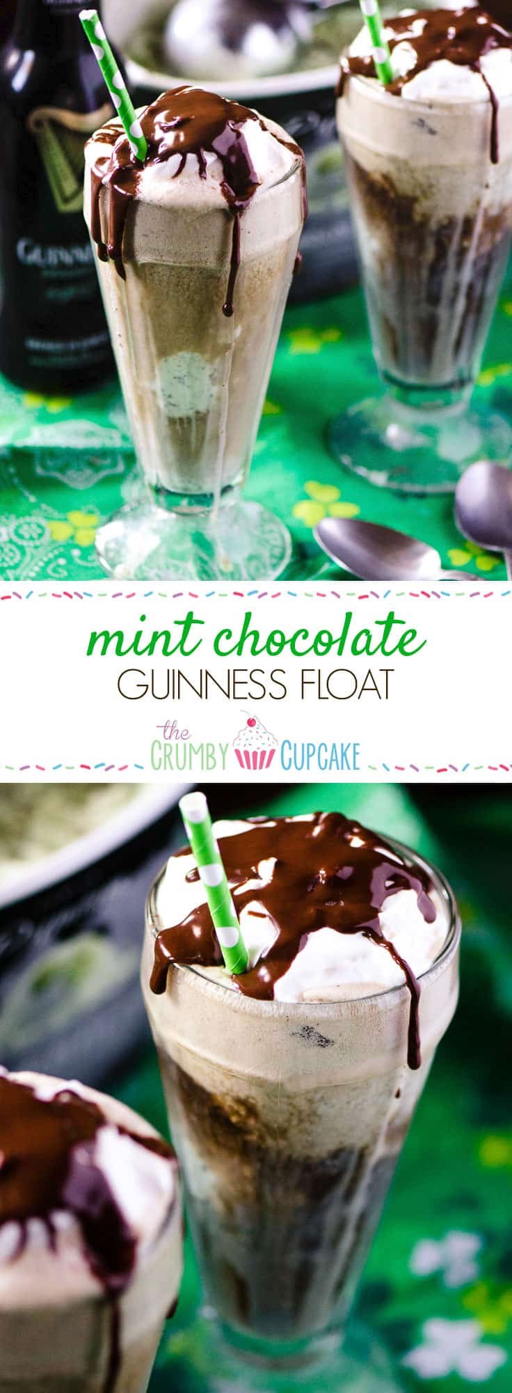 Mint Chocolate Guinness Float | Tired of the same old pint of Guinness? Kick it up Leprechaun style! Add a scoop of mint chocolate chip ice cream, a dollop of Irish cream whipped cream, and a drizzle of chocolate for a fun and festive float.