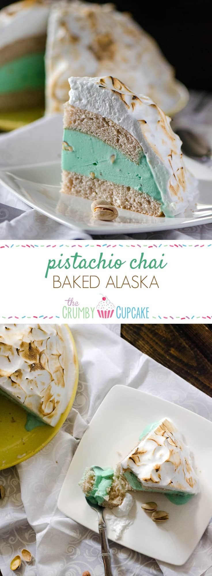 Pistachio Chai Baked Alaska | Pistachio almond ice cream, sandwiched between two layers of vanilla chai cake, all topped with fluffy meringue...and then baked! This old-fashioned dessert is as fun as it is delicious.