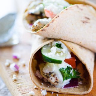 Souvlaki Chicken Wraps with Homemade Tzatziki
