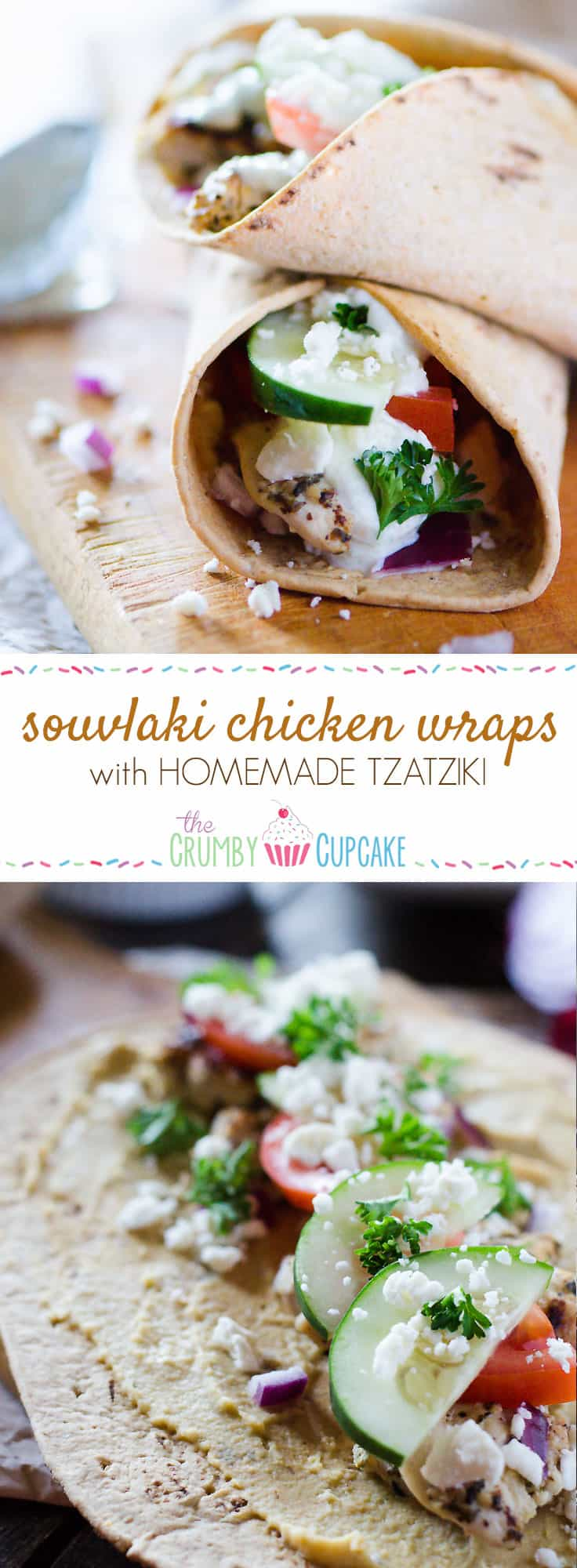 Souvlaki Chicken Wraps with Homemade Tzatziki | Flatbread stuffed with hummus, souvlaki chicken, veggies, feta cheese, and homemade tzatziki, these easy Greek-style wraps are perfect for lunch on the go or a fun #SundaySupper!