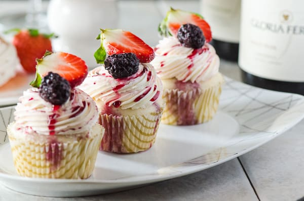 Vanilla Cupcakes with Red Wine Berries