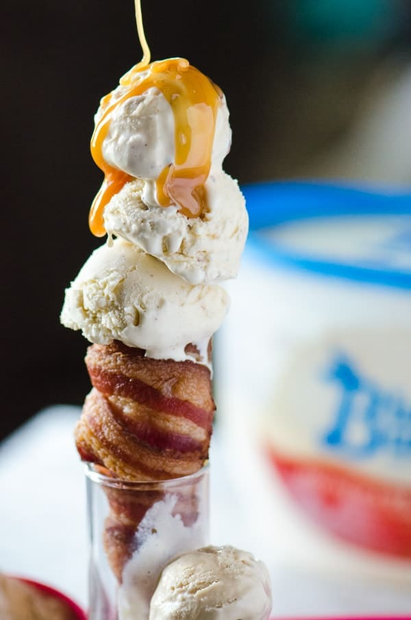 BaCones! (Bacon Ice Cream Cones) | Salty and sweet takes on a whole new meaning when you pair easy-to-make cone shaped bacon with Blue Bunny® ice cream! What a different twist on a springtime treat!