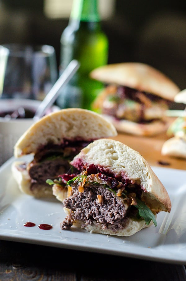 Get fancy with your grillin' and sink your teeth into a Cherry Cabernet Burger! Bacon and Cabernet-infused beef patties, topped with melty Gouda, peppery arugula, caramelized onions, and a roasted balsamic cherry & poblano chutney.