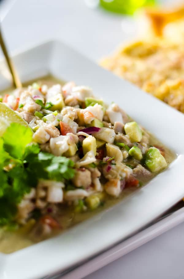 Margarita Ceviche | A Spanish tapas dish almost as good as the cocktails! Chopped calamari, ahi tuna, scallops, and shrimp, combined with fresh vegetables, lots of lime juice and a dash of tequila!