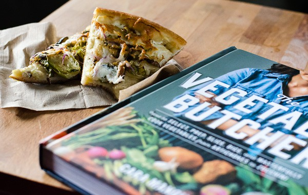 "Shiitake ""Bacon"" and Shredded Brussels Sprouts Pizza 