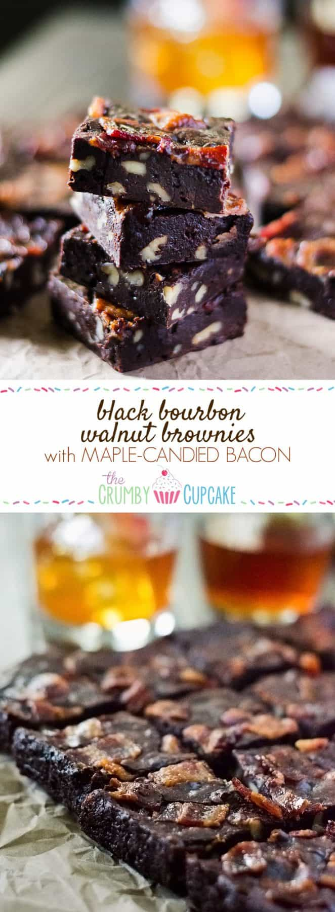 Black Bourbon Walnut Brownies with Maple-Candied Bacon | Dark chocolate, walnuts, and bourbon whiskey come together with maple-candied bacon to create the manliest, most decadent batch of brownies you'll ever eat! They're perfect for the men in your life with both a killer sweet tooth and a fine palate!