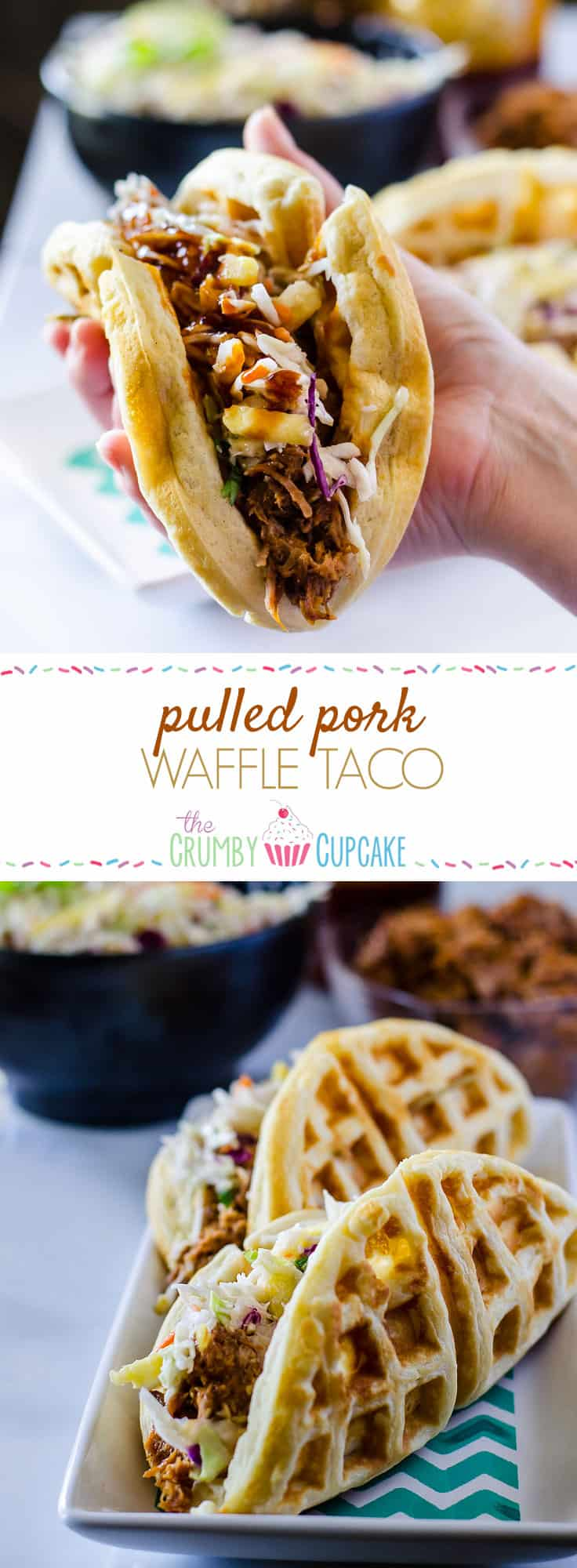 Watch your back, tortillas - stuffed with slow cooked BBQ pulled pork and pineapple coleslaw, these Pulled Pork Waffle Tacos are coming to take Tuesdays away from you!