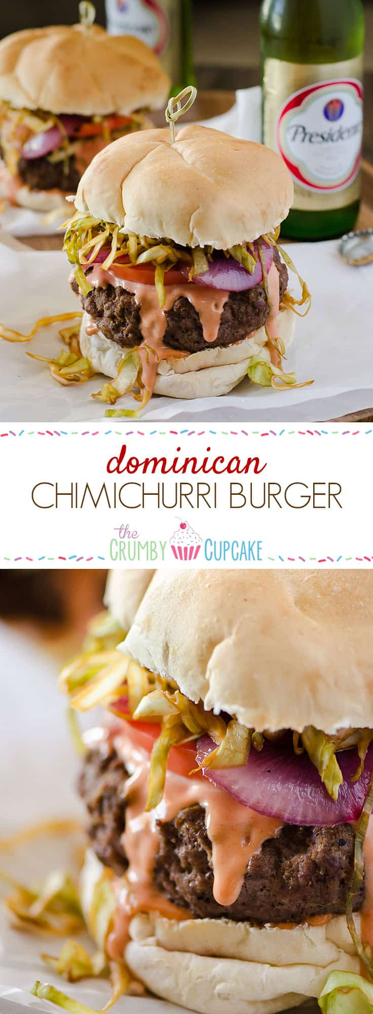 A saucy, simply seasoned burger, topped with sauteed cabbage, tomato and onion, the Chimichurri Burger is Dominican street food at its finest!