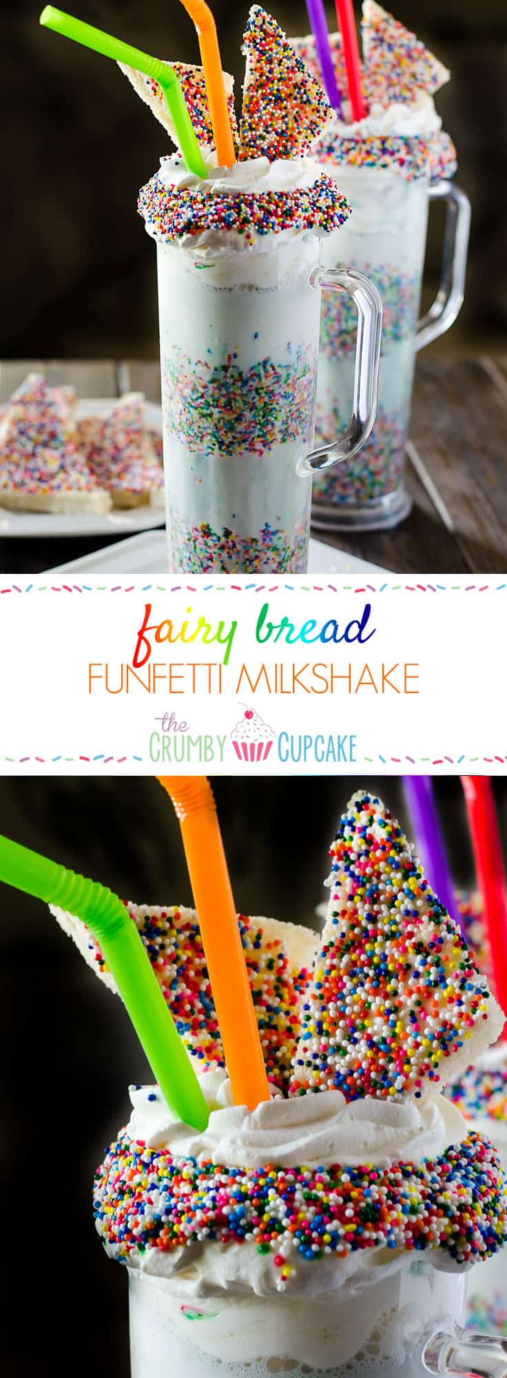 This Fairy Bread Funfetti Milkshake is bound to be a new after school favorite! Dress up those simple vanilla milkshakes with a mountain of whipped cream, tons of sprinkles, and some mini Fairy Bread slices!