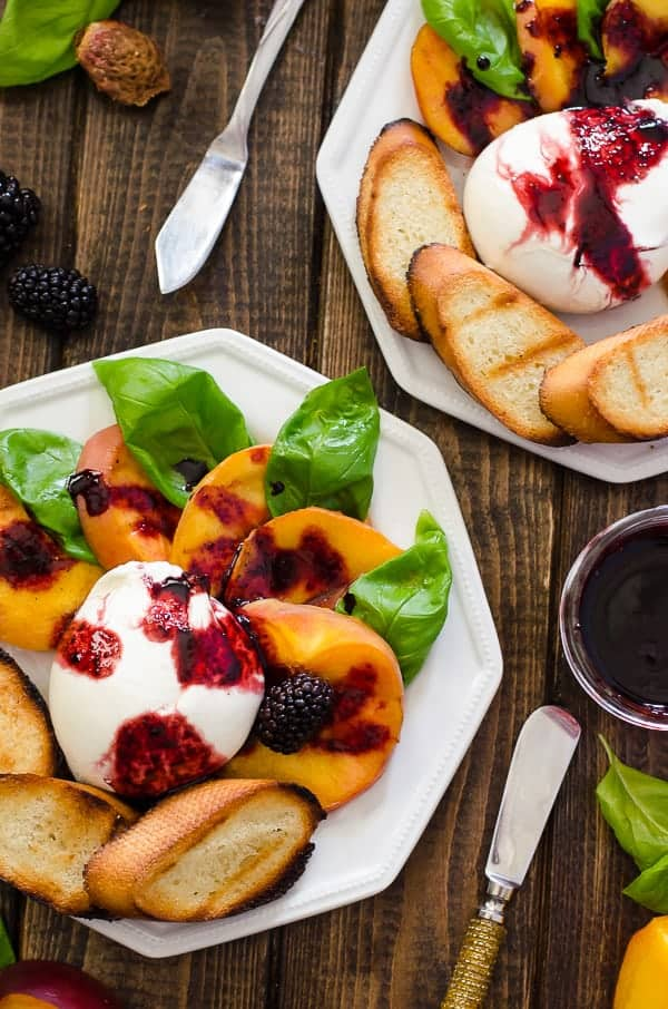 Grilled Peach Caprese with Blackberry Balsamic