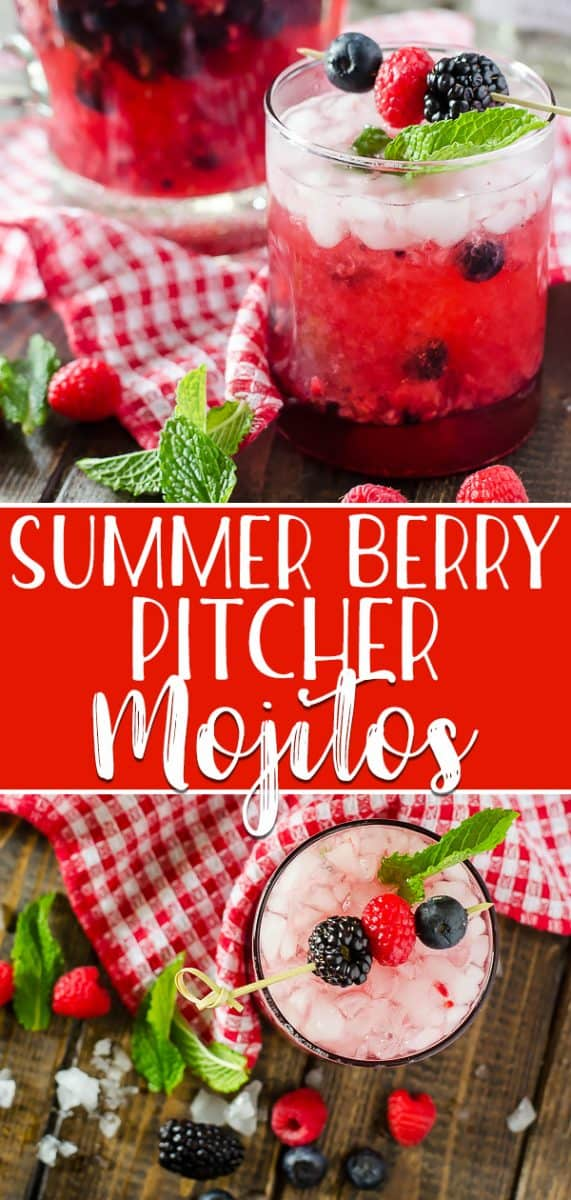 Traditional mojitos all jazzed up with fresh berries and raspberry seltzer, these quick and easySummer Berry Pitcher Mojitos are sure to cool down a hot afternoon!