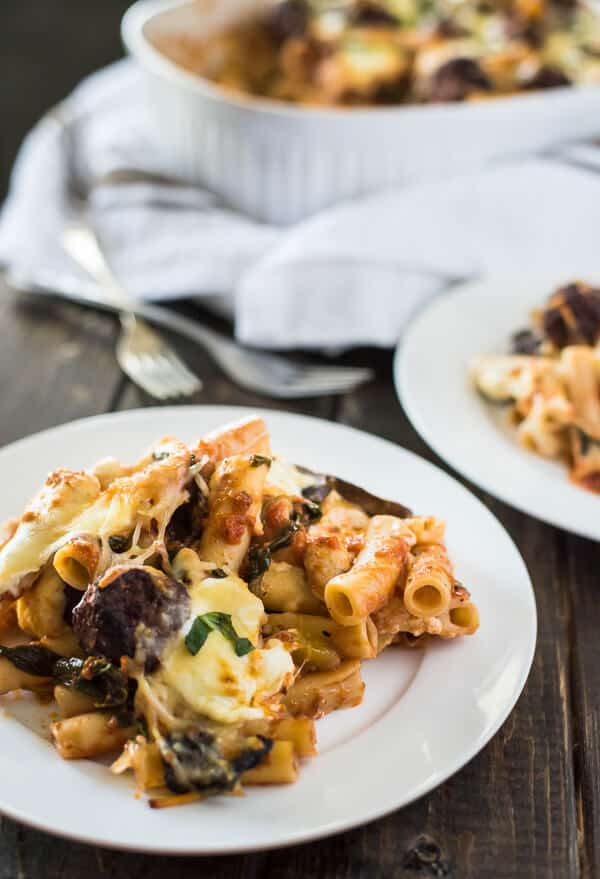 Grab a fork and dig into this Baked Ziti with Meatballs, a veggie-packed, cheese lover's heaven on a plate! The meatballs and garlic-basil marinara sauce amp up the flavors and make this a recipe you'll want every week!