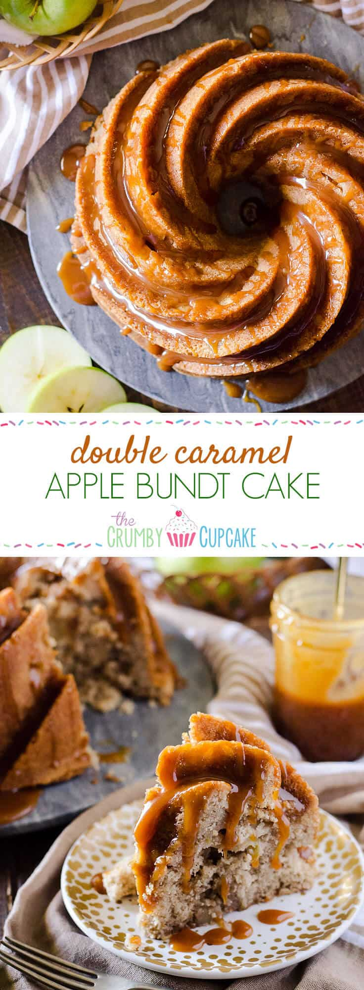 This Double Caramel Apple Bundt Cake isn't just boasting - moist caramel cake, loaded with apples & a little spice, then doused in even more caramel sauce!