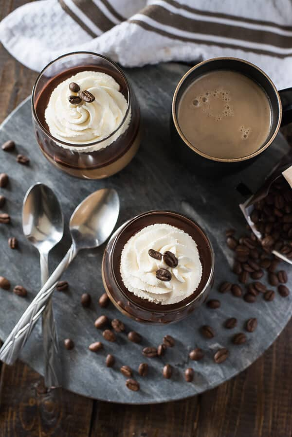 Mocha Panna Cotta with Mascarpone Cream - Layer upon layer of chocolate, coffee, and cream makes for one rich, delicious java dessert that you'll want to share with everyone!
