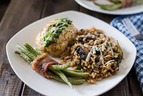Looking for a side dish that's a little bit fancy but oh so easy? This Mushroom Spinach Risotto is ready in about 30 minutes and is a fantastically flavorful addition to any family dinner.