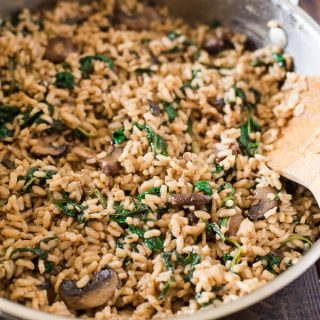 Mushroom Spinach Risotto & Barber Foods Chicken