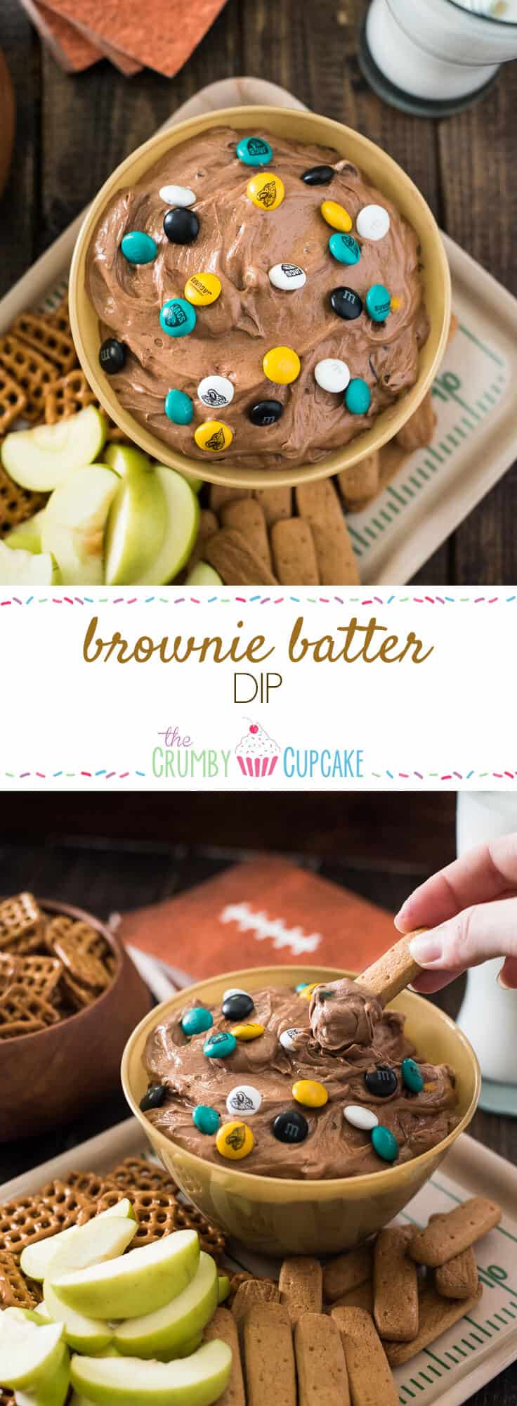 The easiest, most fun way to eat brownies! This Brownie Batter Dip is loaded with mini chocolate chips and M&Ms - any color will do, but bonus points if they're repping your favorite team!