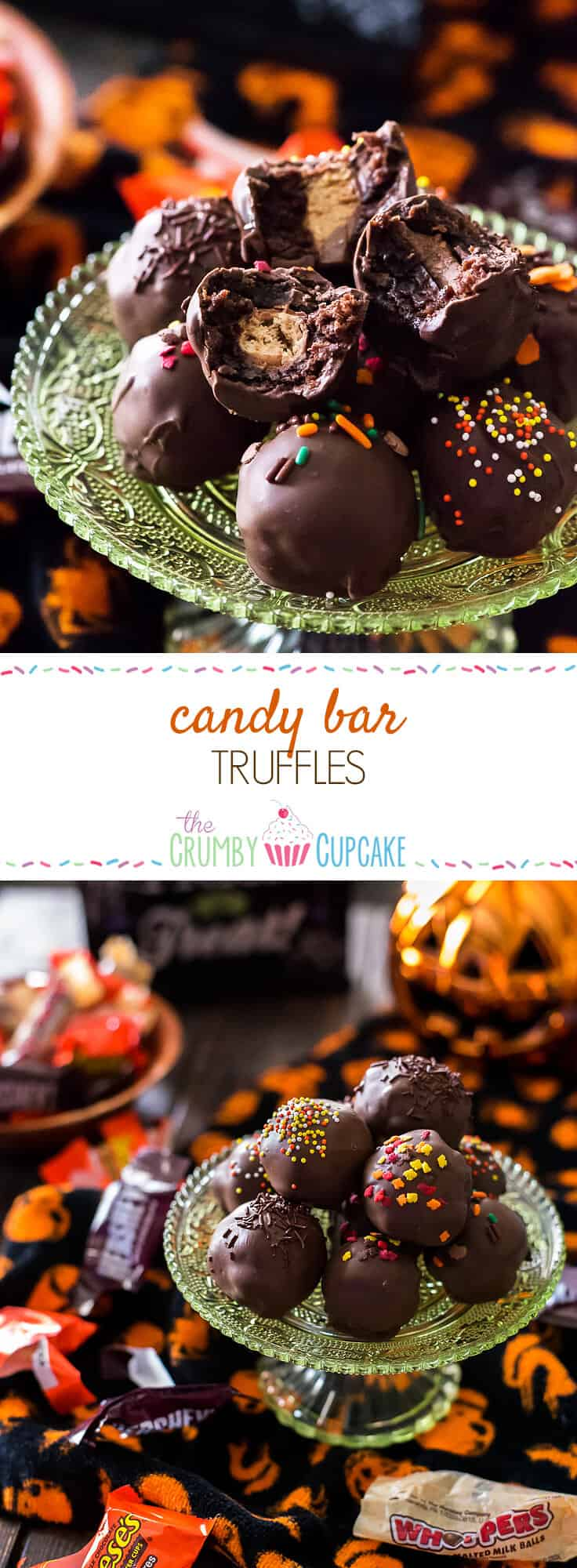 Re-purpose some of that trick-or-treat loot in a batch of these Candy Bar Truffles - chewy, fudgy brownie balls stuffed with your favorite Halloween candy and dipped in chocolate! #SundaySupper