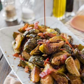 Bacon Balsamic-Roasted Brussels Sprouts #SundaySupper