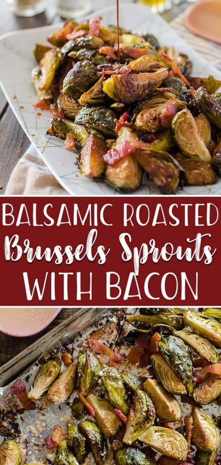 Drizzled with tangy balsamic, tossed with savory bacon, slightly sweetened with brown sugar: these simple, crispy Roasted Brussels Sprouts with Bacon & Balsamic are the perfect side dish for any meal!