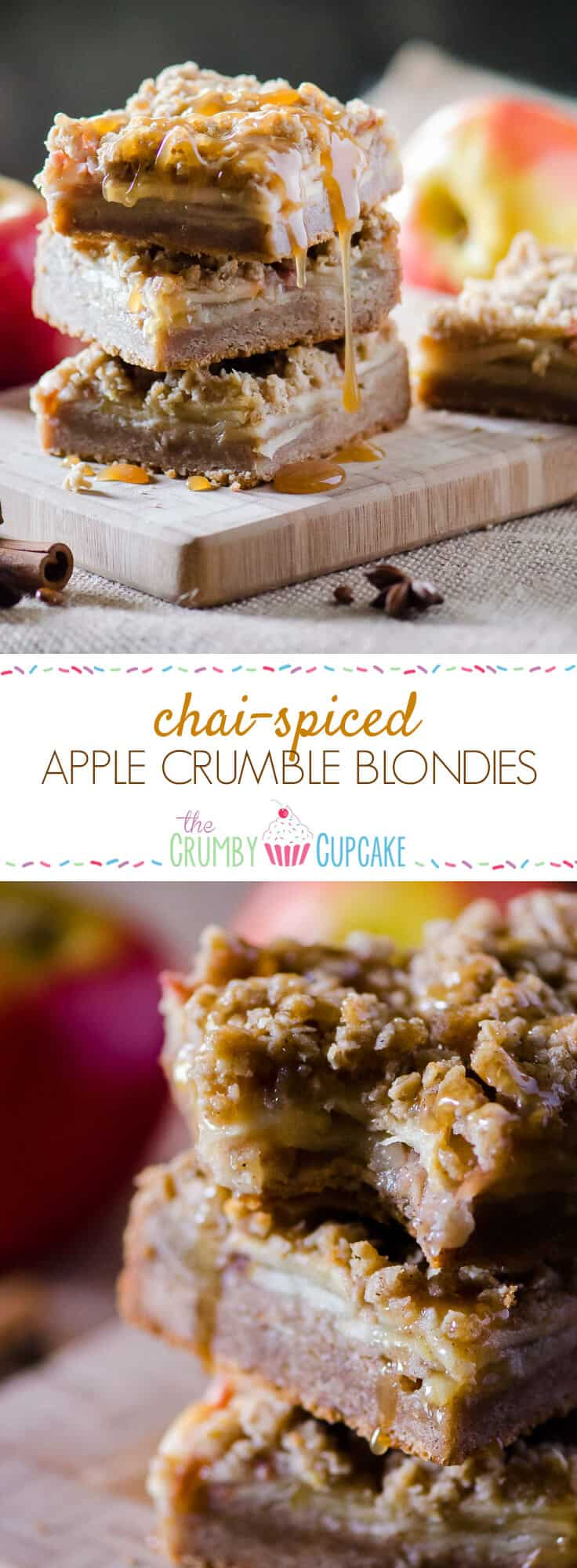Blondies, fall style! Chai-Spiced Apple Crumble Blondies combine the flavors of the season with the brownie's brown sugared-little sister.