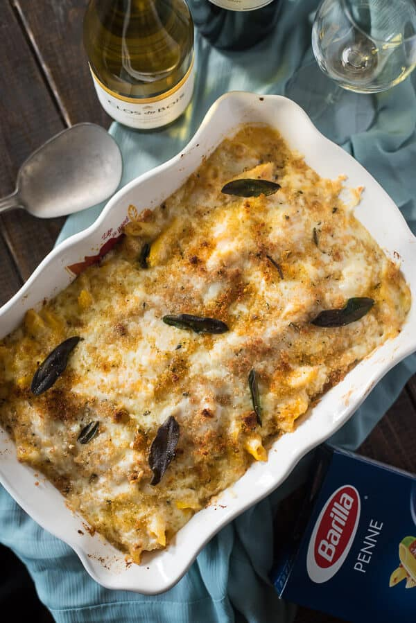 A tasty seasonal spin on an easy Italian dish, this Five Cheese Butternut Squash Baked Ziti makes a great meal between holidays or a sensational side to the main event!