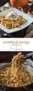 In need of a quick and easy weekday dinner that's just a bit different? This Pumpkin & Sausage Alfredo combines everything you love about alfredo with all things fall and comforting!