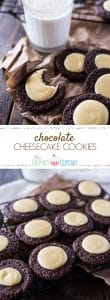 Chewy, dreamy, sprinkly chocolate cookies + creamy, smooth cheesecake filling = Chocolate Cheesecake Cookies, a.k.a. your new favorite way to eat cheesecake.