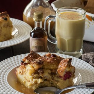 Eggnog Bread Pudding with Warm Whiskey Sauce #SundaySupper