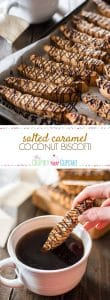 Chock full of toasted coconut, salted caramel chips, and a healthy chocolate drizzle, these Salted Caramel Coconut Biscotti will make you look forward to your morning coffee even more than you already do!