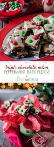 This Triple Chocolate M&M'S® Peppermint Bark Fudge turns three holiday favorites in one! Soft, minty chocolate and white chocolate fudge studded with holiday M&M'S® is a fun treat to eat and gift!